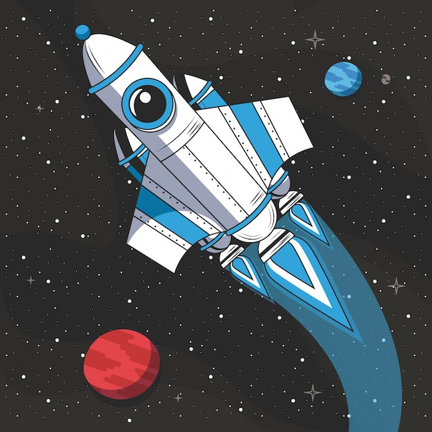 Spaceship flying in the space Free Vector