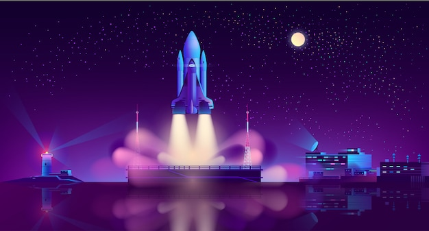 Spaceship launch from floating platform Free Vector
