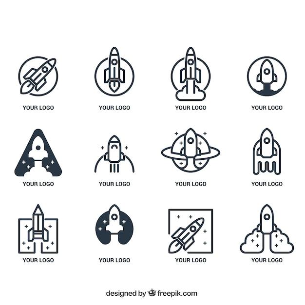 Spaceship logo collection Free Vector