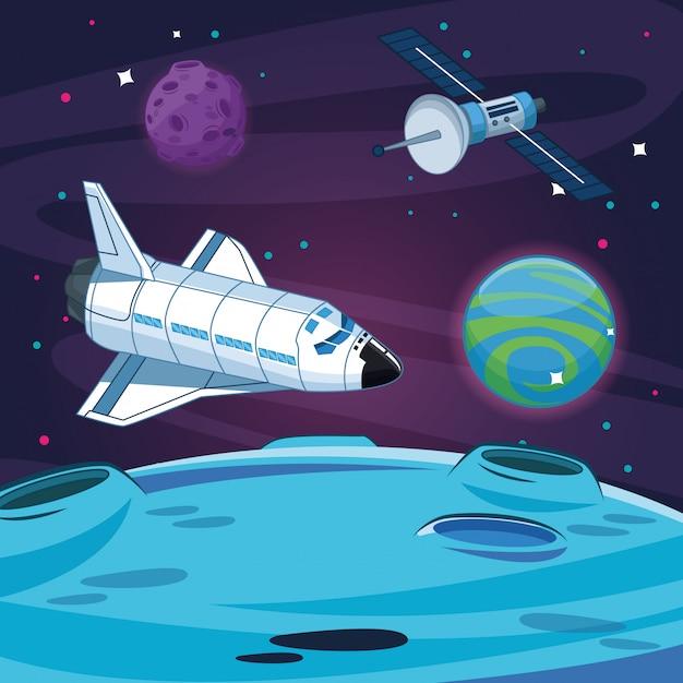 Spaceship in the milkyway galaxy Premium Vector