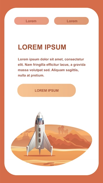 Spaceship on red planet surface. Premium Vector