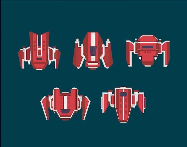 宇宙船セット。アーケードゲームの宇宙船 Premiumベクター