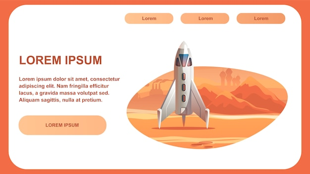 Spaceship surface red planet. Premium Vector