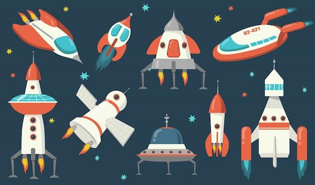 Набор космических кораблей и ракет Бесплатные векторы