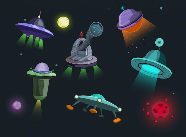 Spaceships set illustration Free Vector