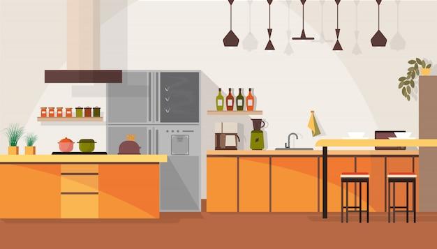 Spacious kitchen interior design Premium Vector