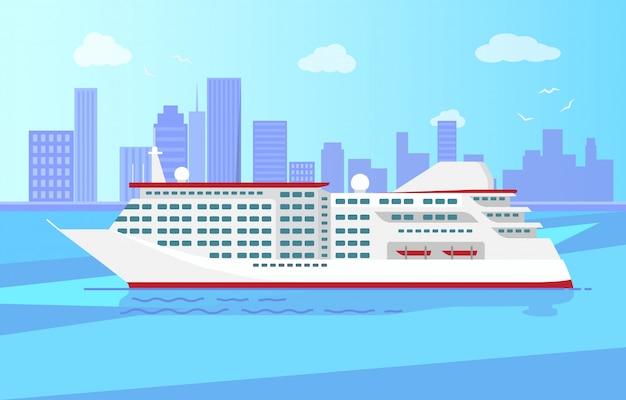 Spacious luxury cruise liner big red steamer Premium Vector