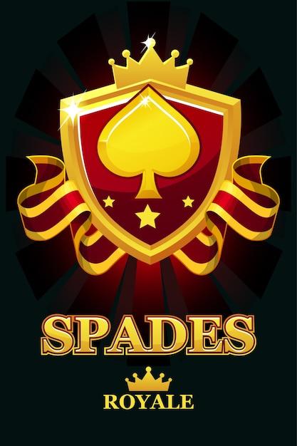Spades royale в красном щите. баннер казино с наградной лентой и короной. объекты на отдельном слое. Premium векторы