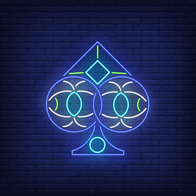 Spades suit neon sign Free Vector