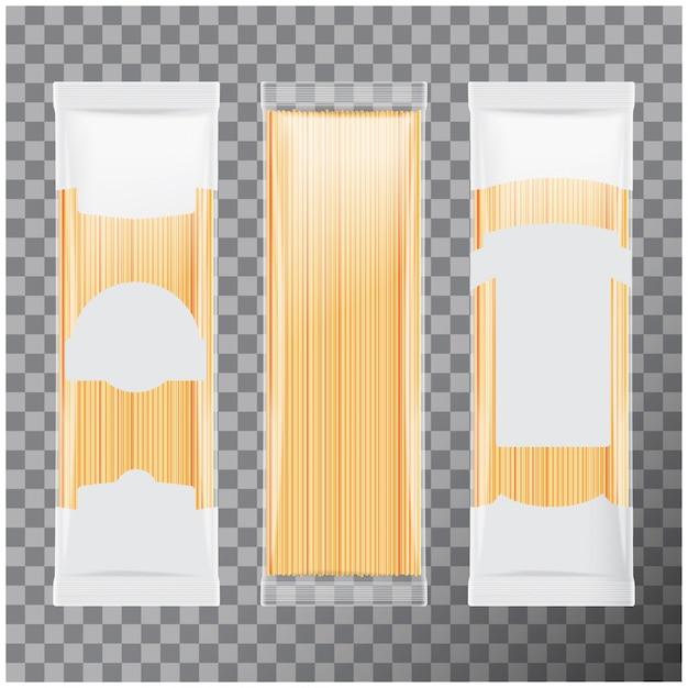 Шаблон пакета макаронных изделий спагетти, капеллини, на прозрачном фоне. иллюстрация Premium векторы