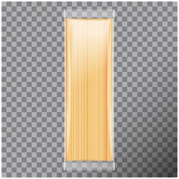 Спагетти, капеллини паста прозрачная упаковка, на прозрачном фоне. иллюстрация Premium векторы