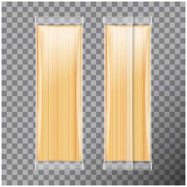 Спагетти, капеллини паста прозрачная упаковка, на прозрачном фоне. иллюстрация пакета Premium векторы