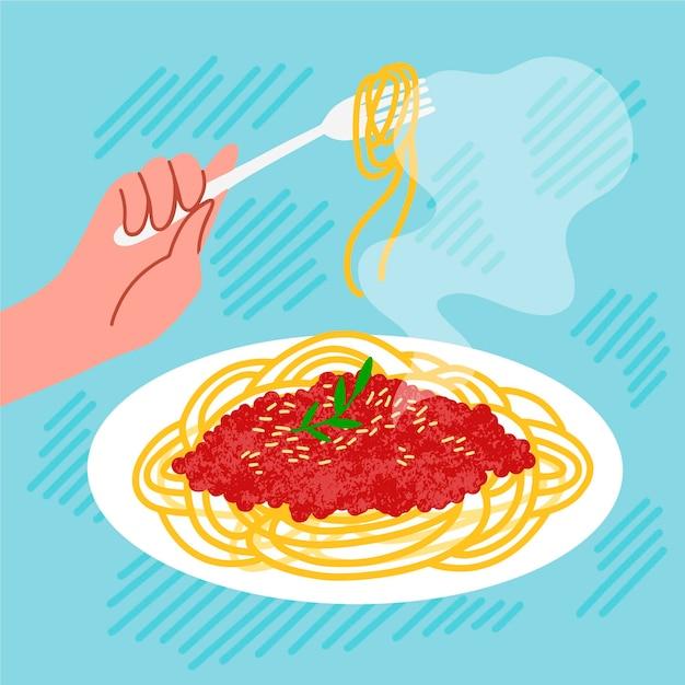 Спагетти комфорт еды иллюстрации Бесплатные векторы