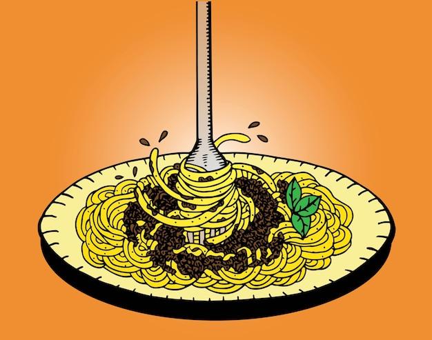 Спагетти каракули, ручная вытяжка Premium векторы