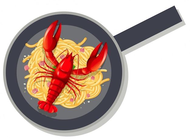 Aragosta spaghetti in padella Vettore gratuito