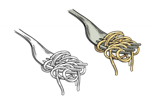 Спагетти на вилке иллюстрации Premium векторы