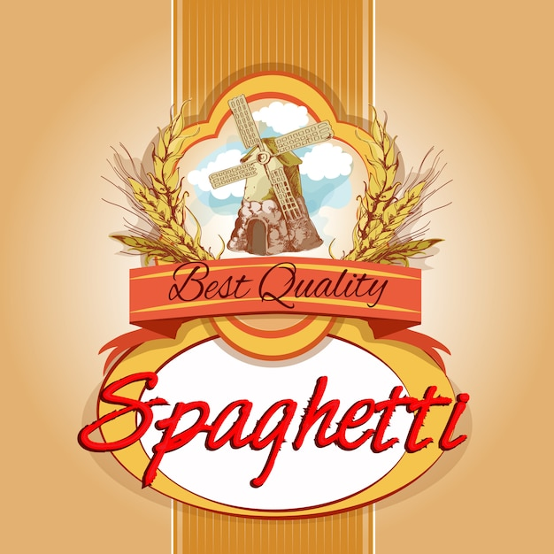 Spaghetti pack label Free Vector