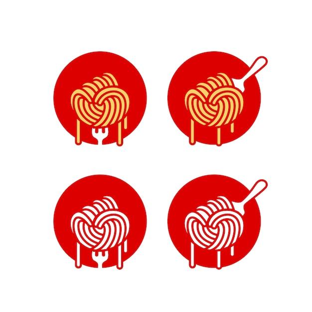 Спагетти паста рамэн лапша логотип Premium векторы