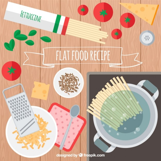 Spaguetti recipe in flat design vector free download spaguetti recipe in flat design free vector forumfinder