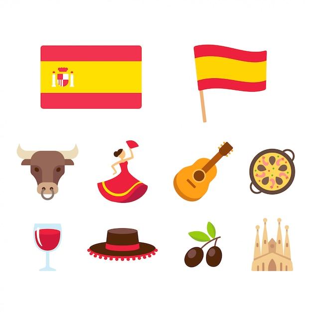 Spain cartoon icons set Premium Vector