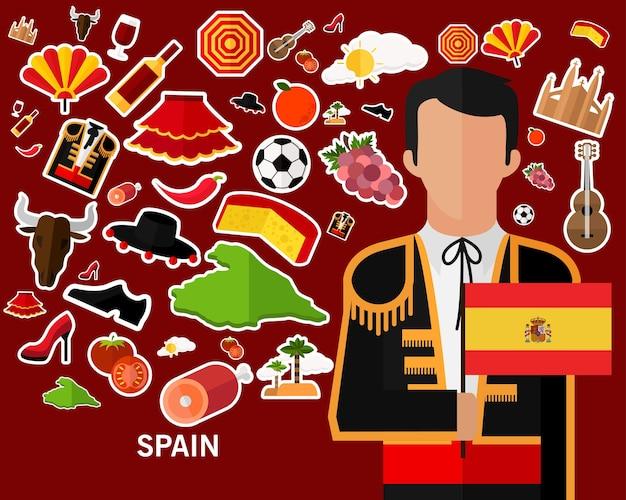 Spain concept background .flat icons Premium Vector