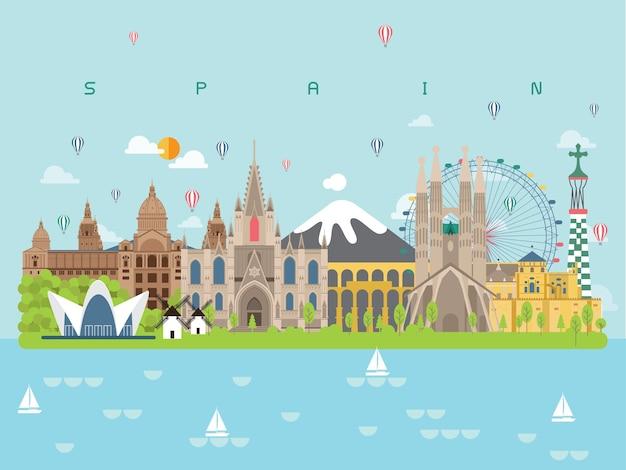 Spain famous landmarks infographic Premium Vector