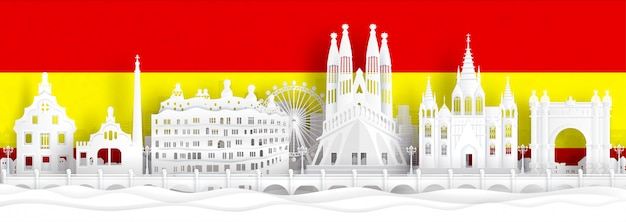 Spain flag and famous landmarks in paper cut style vector illustration. Premium Vector