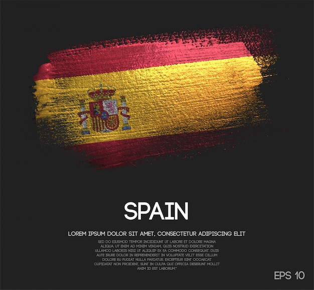 Spain flag made of glitter sparkle brush paint Premium Vector