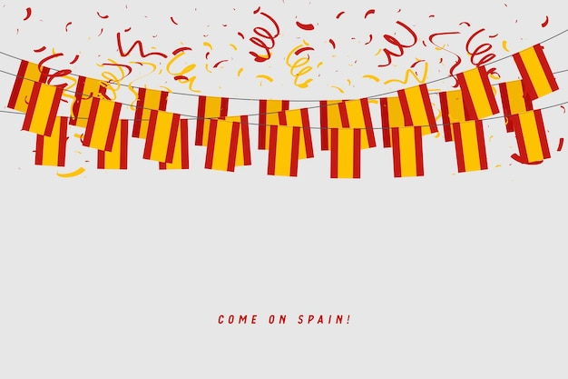 Spain garland flag with confetti on gray background. Premium Vector