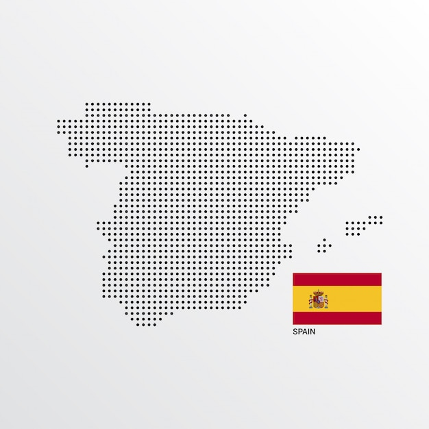 Spain Map Flag.Spain Map Design With Flag And Light Background Vector Vector Free
