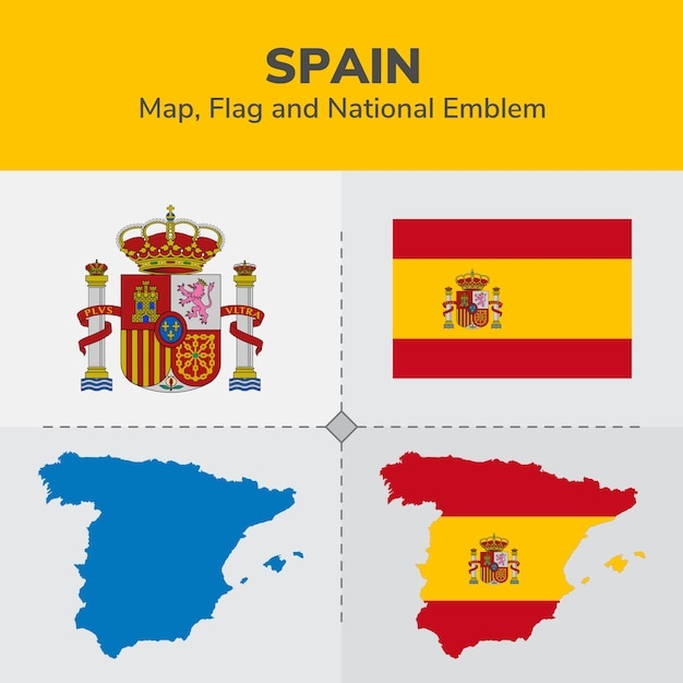 Spain Map Flag.Spain Map Flag And National Emblem Vector Premium Download