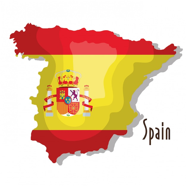 Spain map with flag isolated icon design Premium Vector