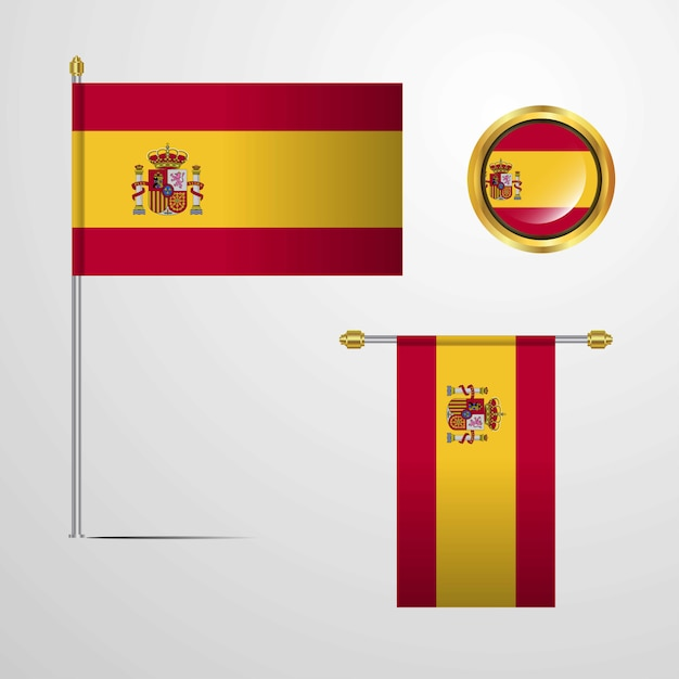 Spain waving flag design with badge vector Free Vector