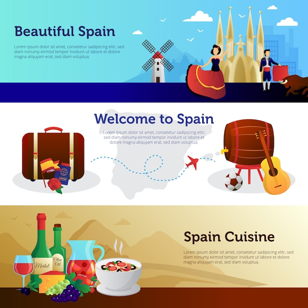 Spain welcome travelers banners set Free Vector