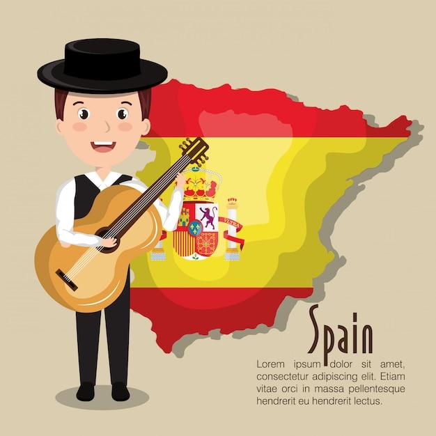 Spanish culture icons isolated icon design Premium Vector