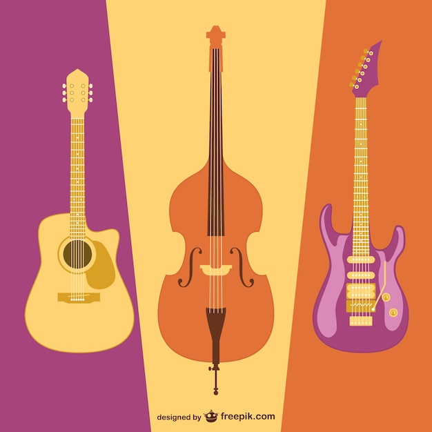 Spanish guitar, electronic guitar and cello Vector | Free