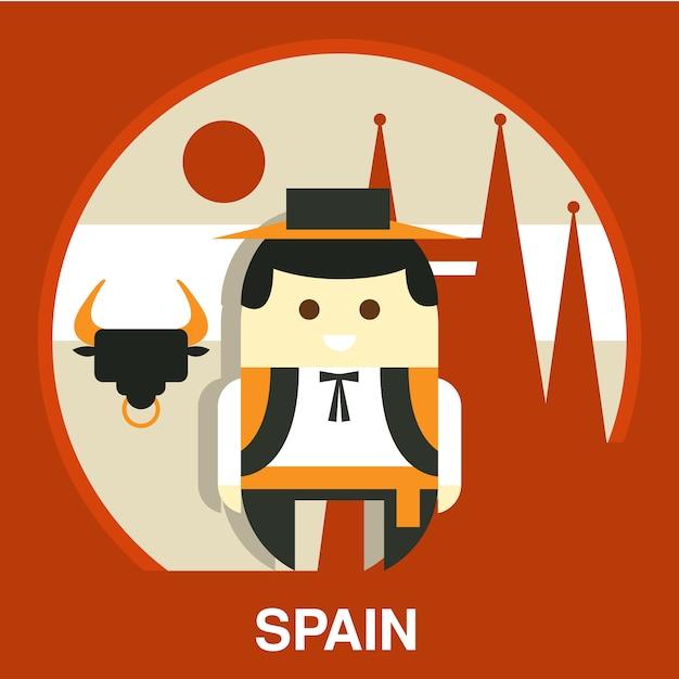 Испанский традиционный человек иллюстрация Premium векторы