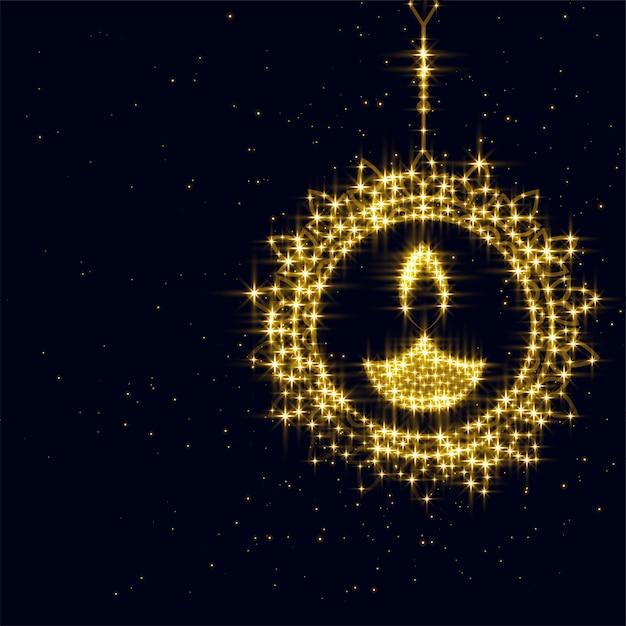Sparking diwali diya decoration on black Free Vector