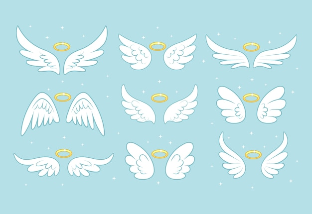 金のニンバス、背景に分離されたハローと輝く天使の妖精の翼。 Premiumベクター