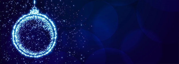 Sparkle christmas ball for xmas festival banner Free Vector