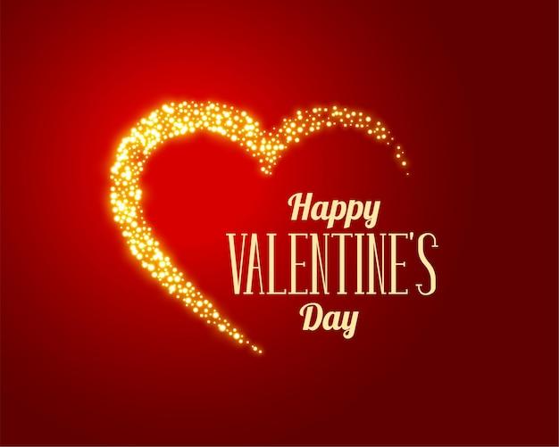 Sparkle amore cuore d'oro su sfondo rosso Vettore gratuito