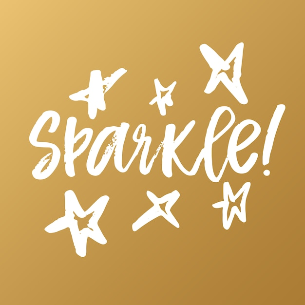 Sparkle - рукописная современная чернильная каллиграфия Premium векторы
