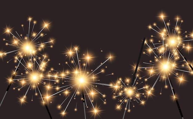 Бенгальские огни на прозрачном фоне. Premium векторы