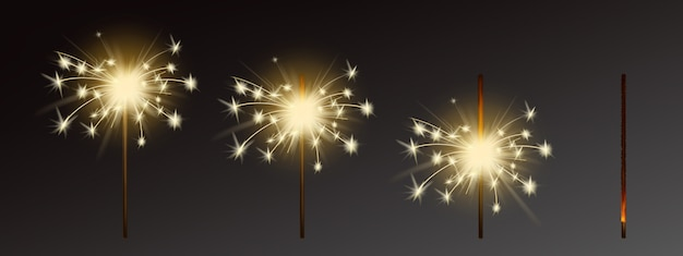 Sparklers set, realistic flares with flames Free Vector