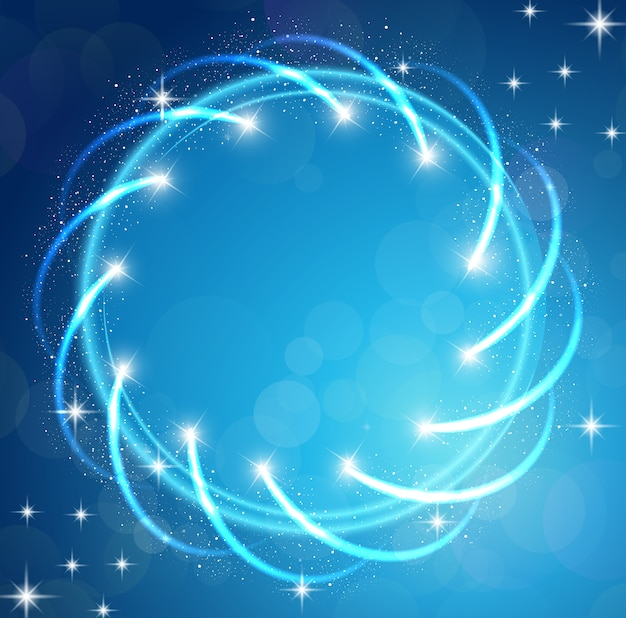 Sparkles blue background with stars round frame Premium Vector