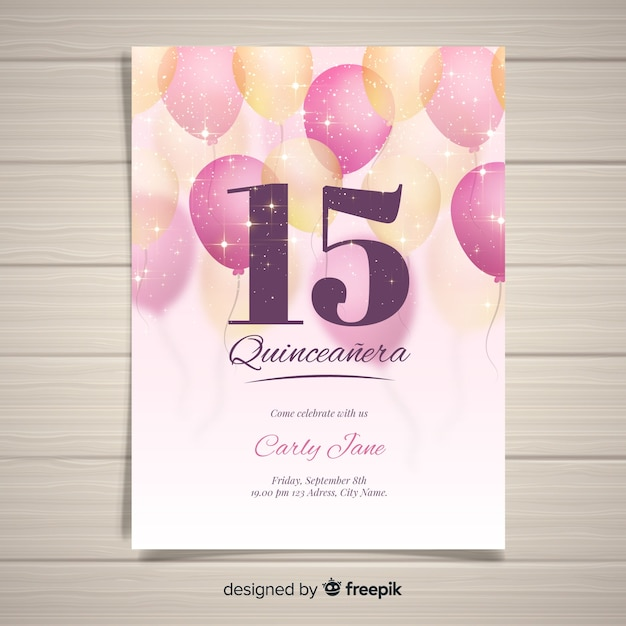 Sparkling balloons quinceanera card template Free Vector