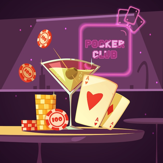 Sparkling casino poker club illustration Free Vector