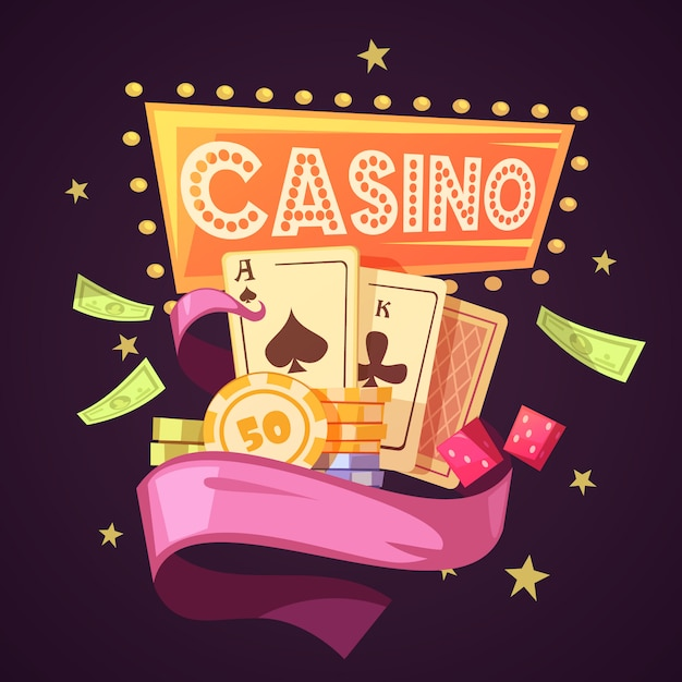 Sparkling casino with cards illustration Free Vector