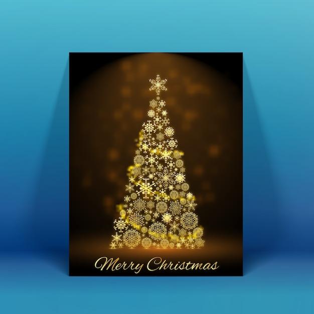 파란색 평면 그림에 반짝이 장식 크리스마스 트리 크리스마스 카드 무료 벡터