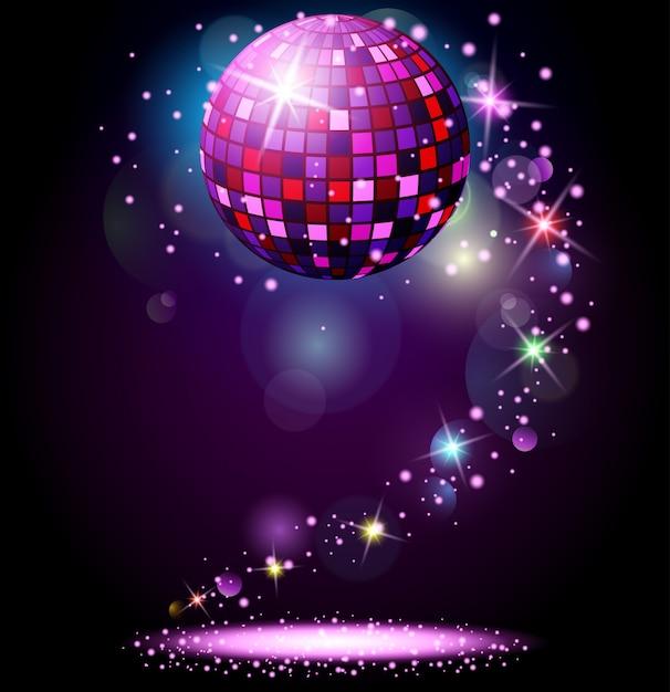 Sparkling disco ball. Premium Vector